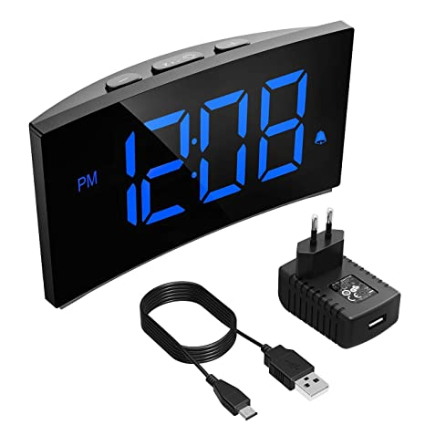 Holife Despertador Digital, [2019 Actualizado] Reloj Despertador Digital de Pantalla Curvada, con Enchufe de Carga, con 3 Sonidos de Alarma, Función ...
