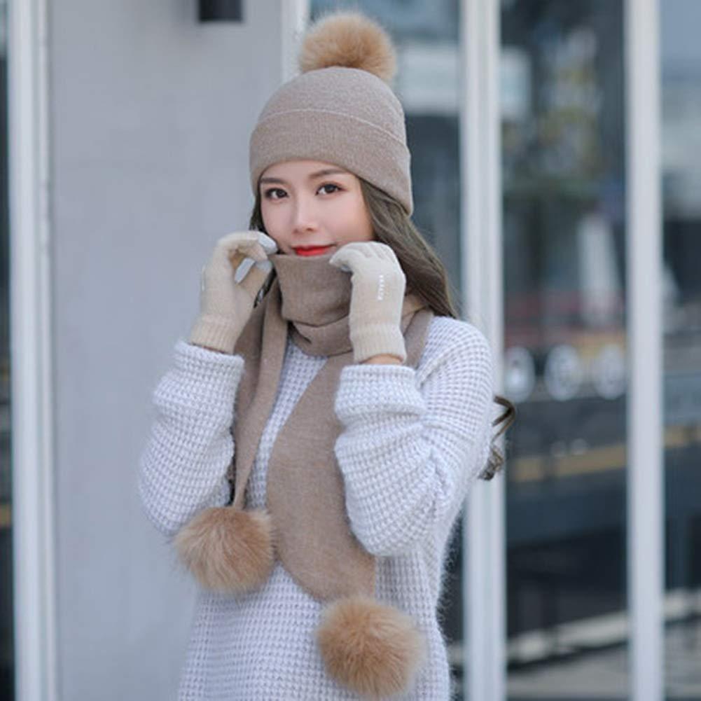 CHAXIA M/ütze Schal Handschuh Sets Hut Freizeit Wild K/älteschutz Warm Halten Weich Handschuhe K/önnen Ber/ührt Werden Farbe : Pink 6 Farben