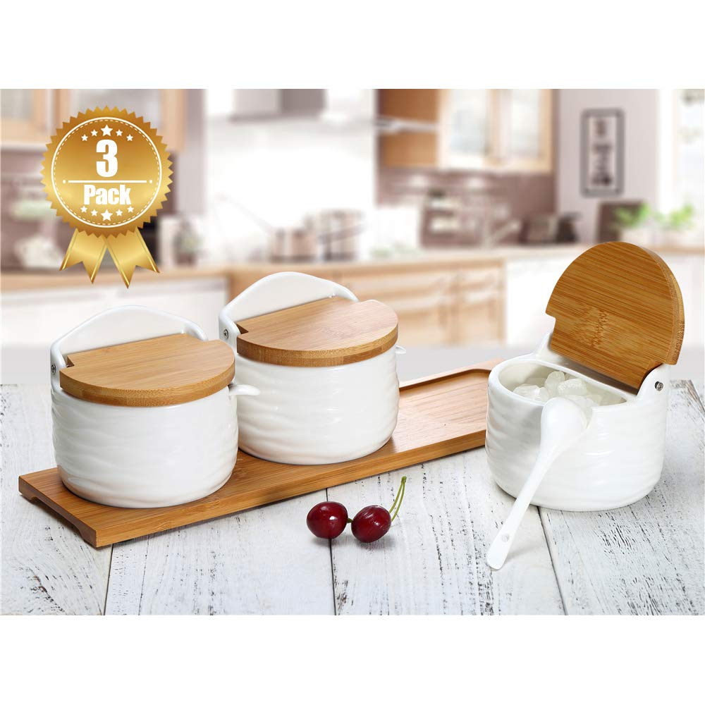 June Sky Sugar and Cream Set,Ceramic Sugar Container with Lid and Spoon