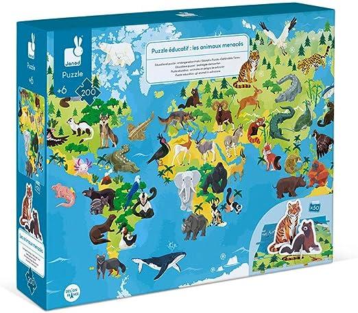 Janod Puzzle Animales EN Peligro DE EXTINCION: Amazon.es: Juguetes y juegos