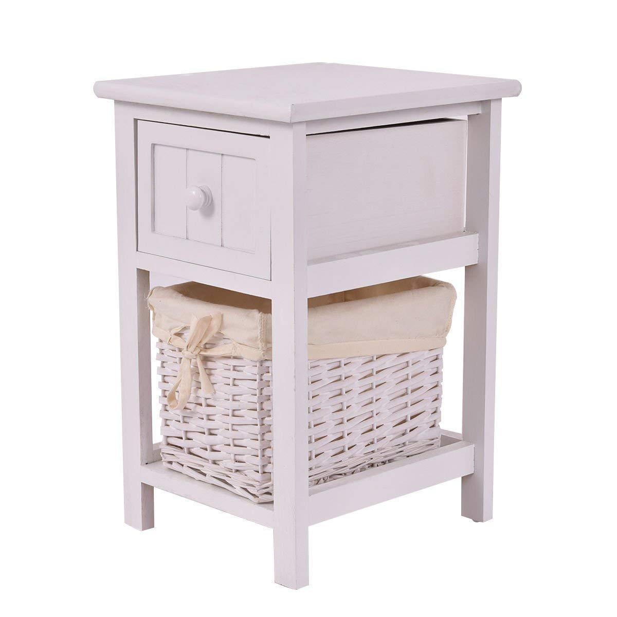 Giantex Nightstand with Drawer and Layer, Wicker Basket Wooden Mini Organizer for Bedroom Bedside Sofa End Table (1, White) by Giantex