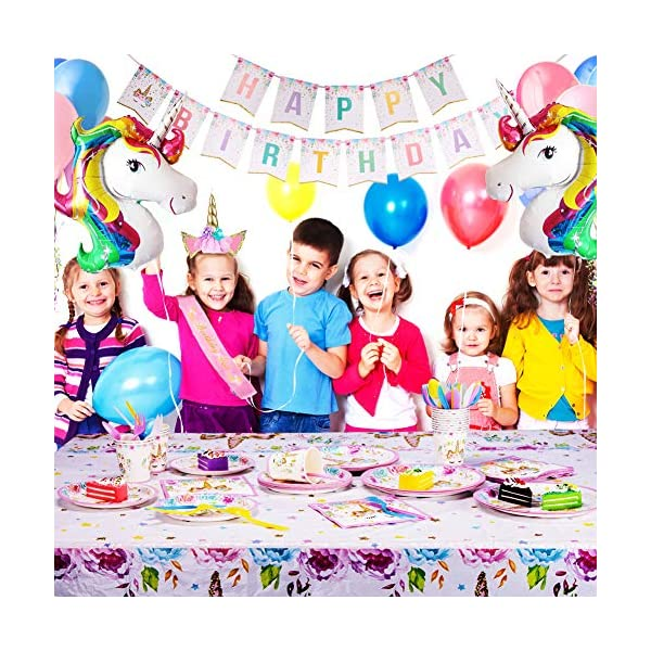 Unicorn Party Supplies - Bonus Unicorn Headband Birthday Sash and Balloons- Serves 16 Guests - Unicorn Birthday… 8