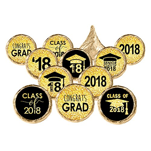 Class of 2018 Graduation Party Favor Stickers, Set of 324 (Black and Gold)