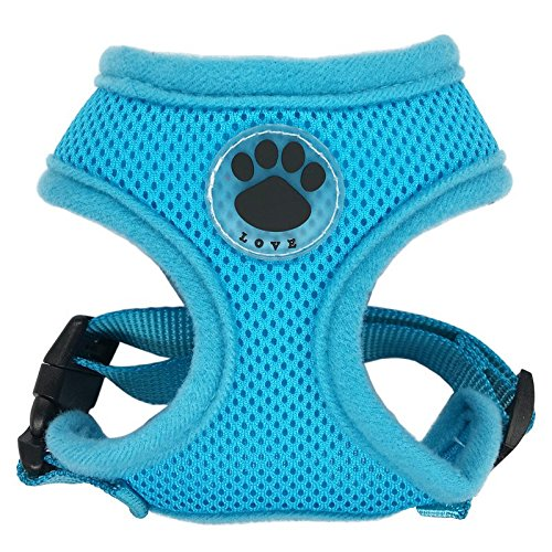 R LOVE Paw Rubber Adjustable Soft Breathable Harness Dog Cat Control Nylon Mesh Vest Armor Pet Puppy Soft Breastband blue XS SODIAL