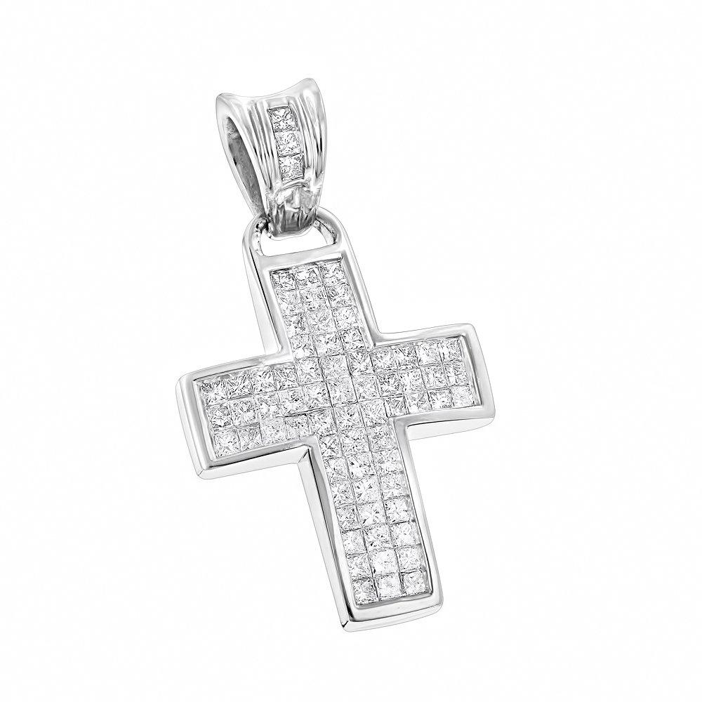 Luxurman 14K Small Natural 1.1 Ctw Diamonds Cross Pendant (White Gold)