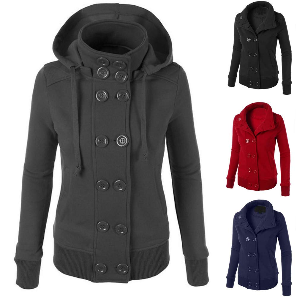 Women Winter Casual Jacket Double-Breasted Hooded Button Down Coat Outwear