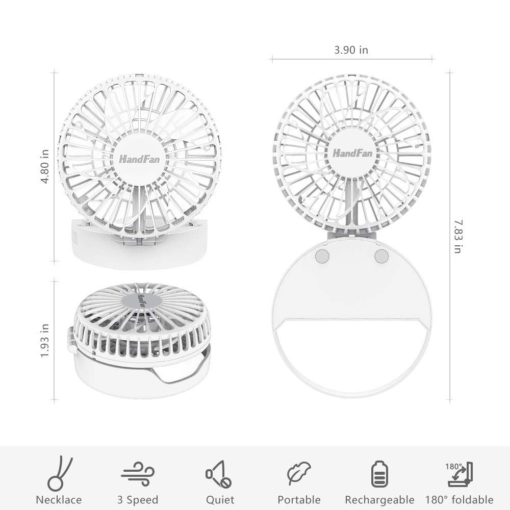 HandFan Personal Necklace Fan Battery Operated Portable Rechargeable Fan with Magnetic Switch//Hands-Free Design//Strong Airflow//Mute /& 3 Speed Mode for Travel Classroom Outdoors Camping