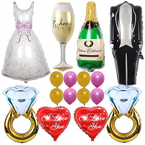 Ezing 40inch Groom Bride Wedding Dress Foil Balloon Party Decoration Marriage with 30inch Diamond Ring and 18inch I Lvoe You Heart Balloon(G)