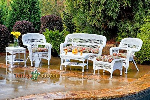 Tortuga Portside 6 Piece Wicker Outdoor Seating Set, White Wicker, Zoe Citrus Fabric (Porch Furniture Sale)