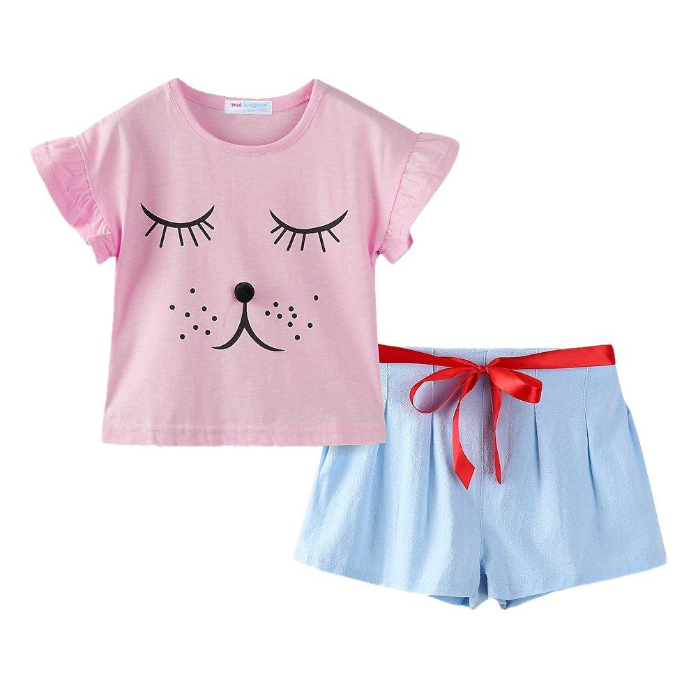 LittleSpring Little Girls' Shorts Set Smiling Size 7 Pink