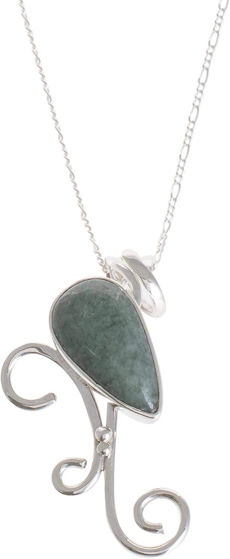NOVICA Jade .925 Sterling Silver Pendant Necklace 'Apple Green Natural Tendrils'