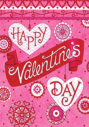 Valentine's Greeting - Standard Size, Decorative Double Sided, Licensed and Copyrighted Flag - MADE IN USA by Custom Decor Inc. 28 Inch X 40 Inch - Custom Flags Outdoor