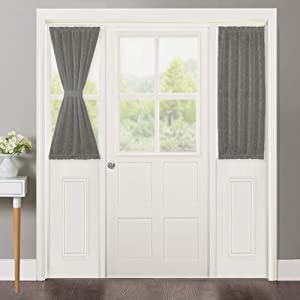 NICETOWN Privacy Sidelight Curtain Short - Semitransparent Voile French Door Panel 40 inches Length French Door Curtain with Tie Backs(Dark Gray, Sold Individually, 30 inches Wide)