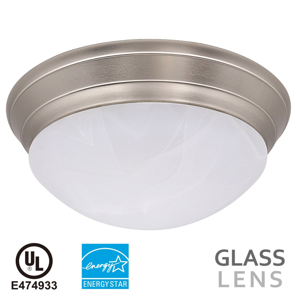 14 inch 23w dimmable led flush mount ceiling light alabaster glass 14 inch 23w dimmable led flush mount ceiling light alabaster glass lens 1600lm 3000k warm white energy star ul listed arubaitofo Choice Image