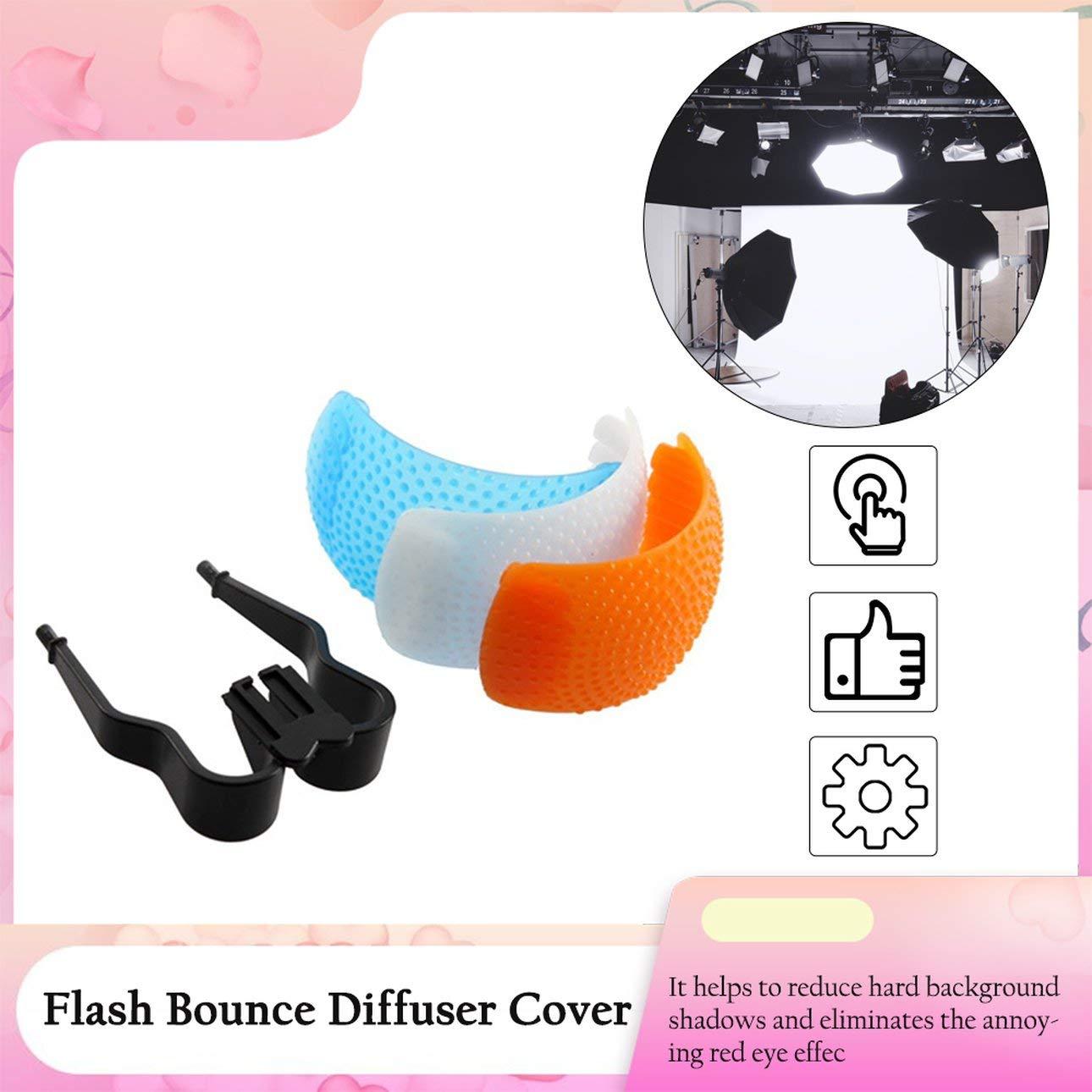 Pudincoco Pop-Up Flash Bounce Difusor Flash Kit de luz Suave con Soporte para Canon para Nikon para Pentax para c/ámara Kodak SLR Azul, Blanco y Naranja