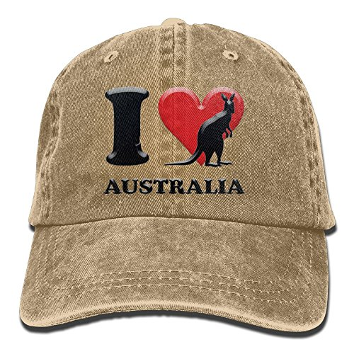 I Love Kangaroo Australia Denim Hat Adjustable Men Mini Baseball (Skeleton Costume Australia)