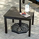 Outdoor Rustic Espresso Finish Eucalyptus Wood Umbrella Side Table End Table Patio Pool Furniture Review