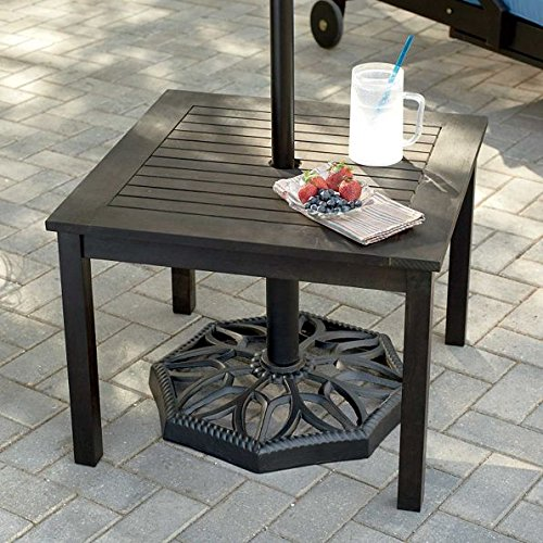 Outdoor Rustic Espresso Finish Eucalyptus Wood Umbrella Side Table End Table Patio Pool Furniture