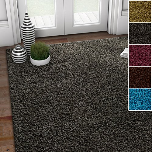 (Well Woven Soft Fluffy Non-Skid/Slip Rubber Back Antibacterial Shag Rug 5x7 (5' x 7') Solid Color Print Light Grey Area Rug Carpet)