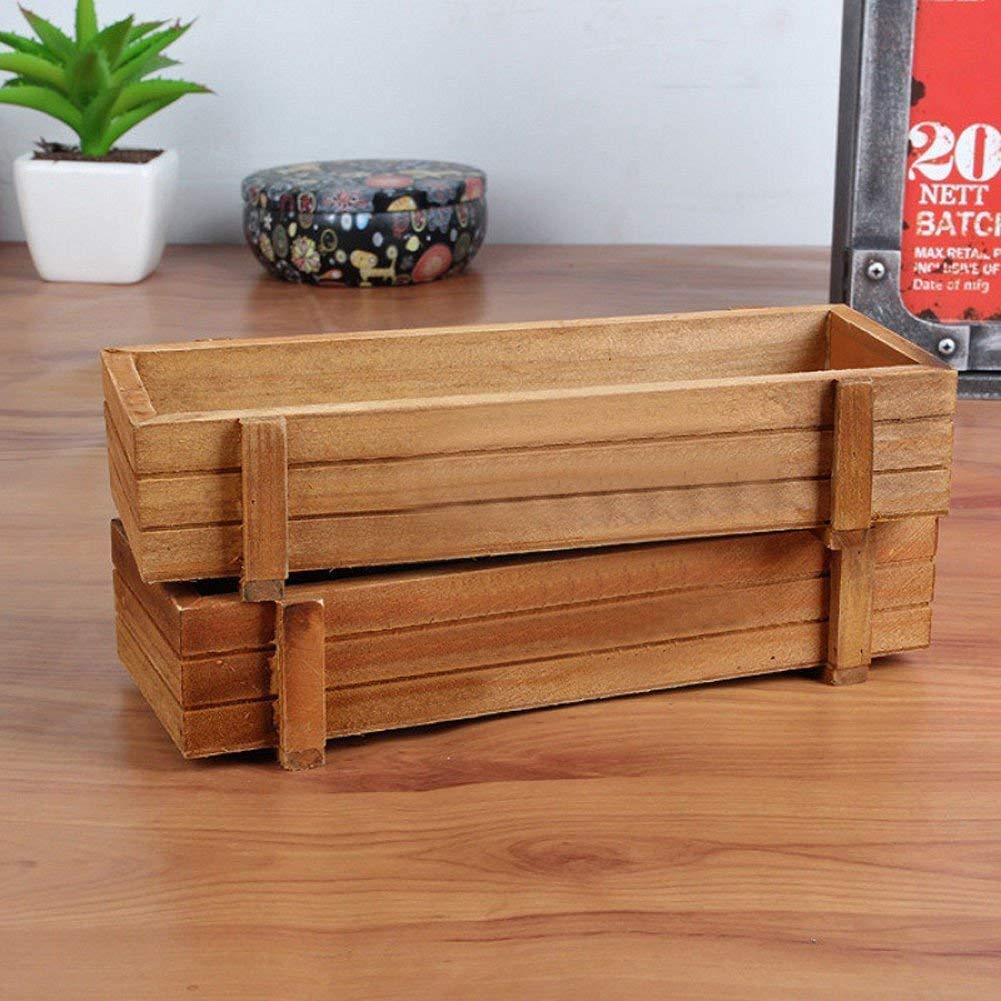 Macetero de madera, rectangular, de madera, para jardín, ventana, maceta, con ventosa, para plantas, interior/exterior, rectangular, madera, ...