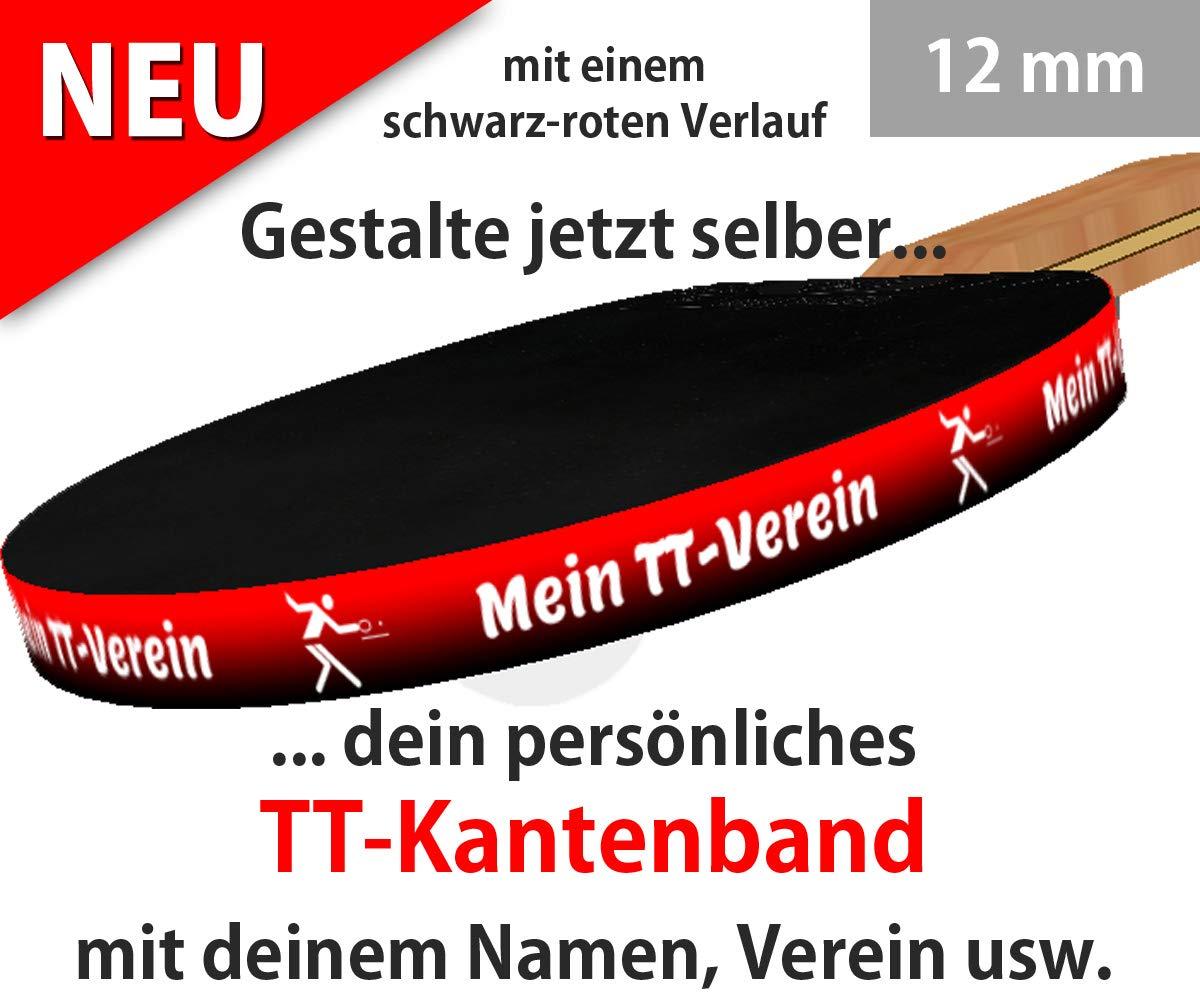 3 STK. Tischtennis Kantenband 12 mm mit eigenem Text & schwarz-rotem Verlauf OWL4one