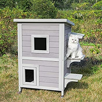 Aivituvin Wooden Dog and Cat House Outdoor and Indoor,Feral Pet Houses for Cats Insulated,Kitty Condo with Stair Design,2 Storey