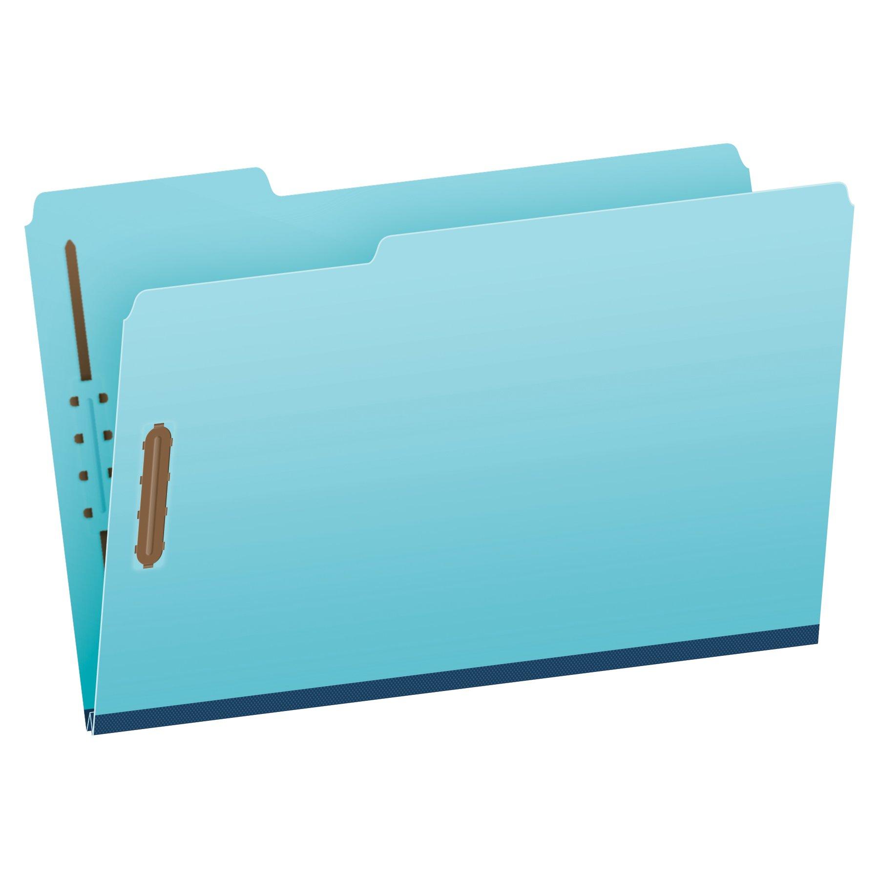 Pendaflex Pressboard Fastener Folders, Legal Size, Light Blue, 1'' Expansion, 1/3 Cut, 25/BX (616F21-3BLU) by Globe Weis