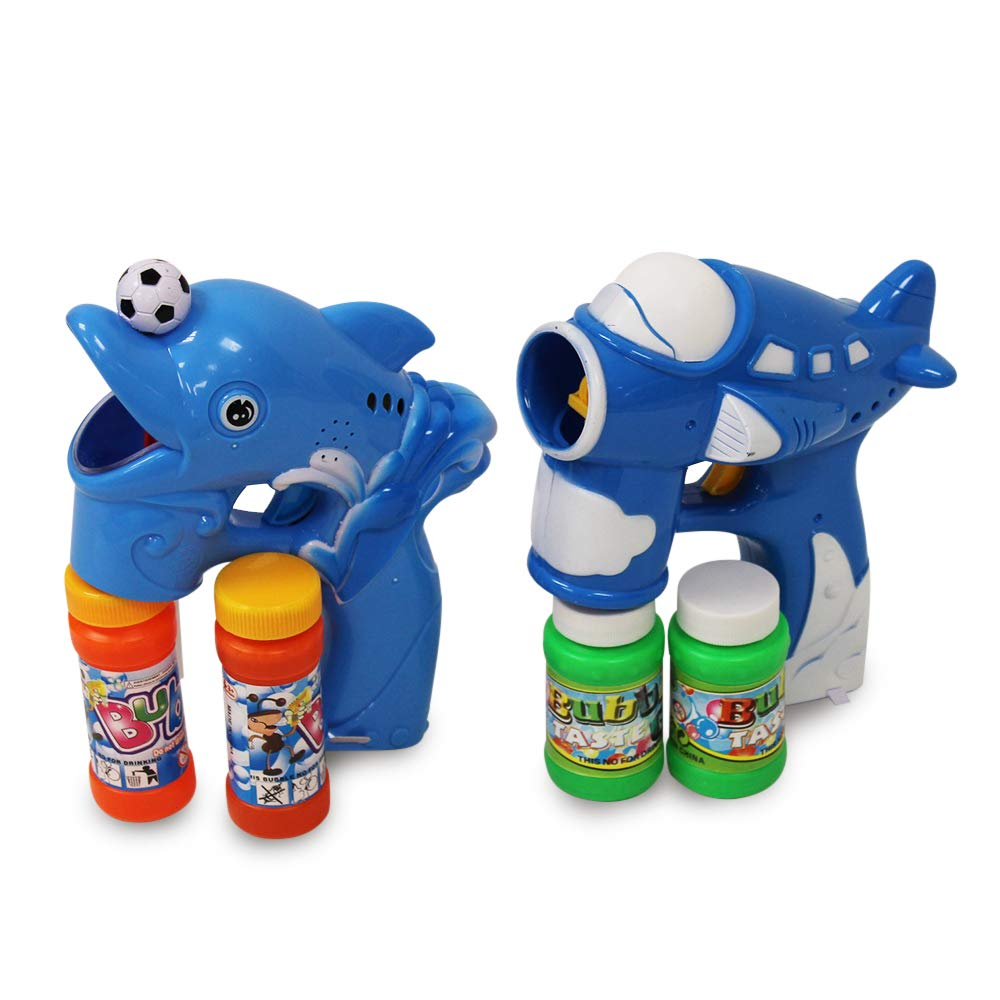 Colorful Bubbles Blue Themed Bubble Blaster Set Includes 1 Aircraft Bubble Shooter with Exciting Sound Lights 1 Dolphin Bubble Gun and Music Best Gift for Kids Age 3