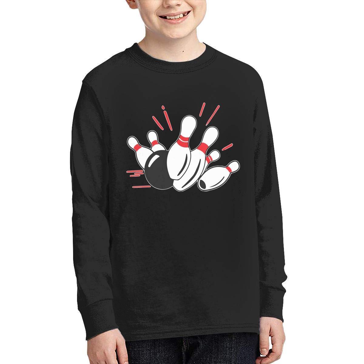 Teenagers Teen Boy Bowling Printed Long Sleeve 100/% Cotton Tee Shirt