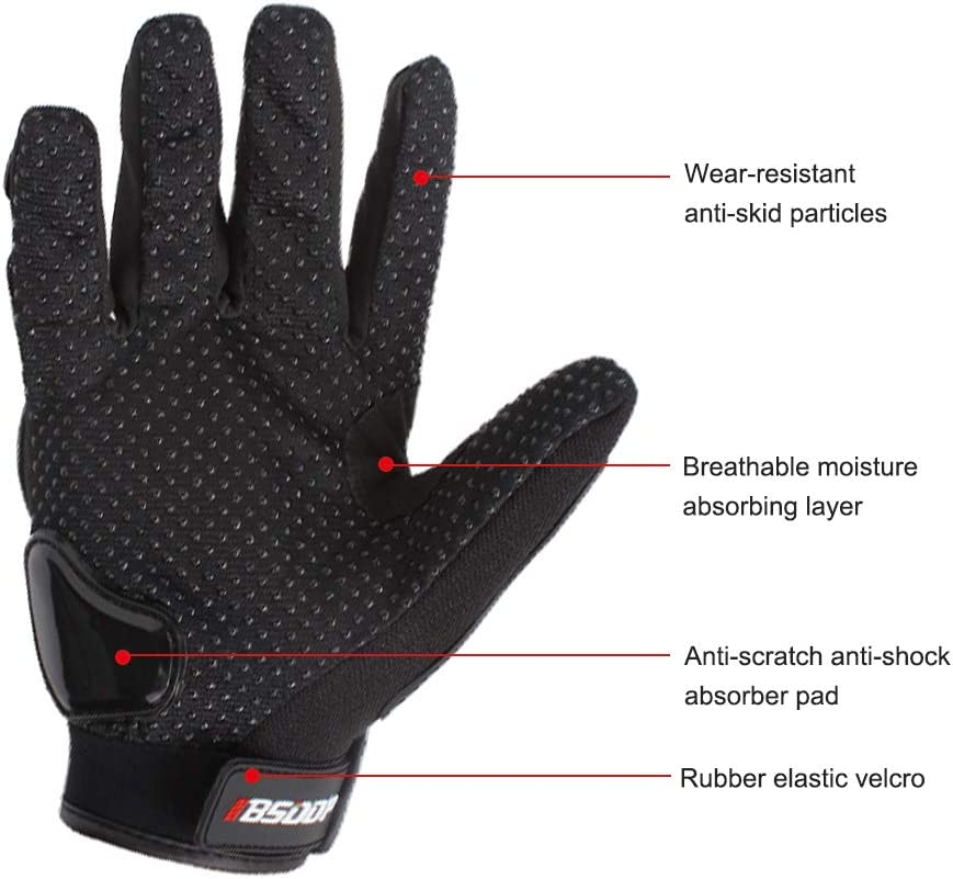 KKmoon Motorcycle Gloves Men/'s Motorcycle Gloves Touching Screen Rubber Hard Knuckle Full Finger Motorbike Racing Motor Cycling Motocross Mountain Breathable Sports Gear Gloves M