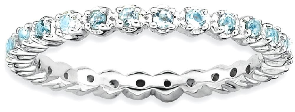 ICE CARATS 925 Sterling Silver Blue Aquamarine Band Ring Size 5.00 Stackable Gemstone Birthstone March Fine Jewelry Gift Set For Women Heart
