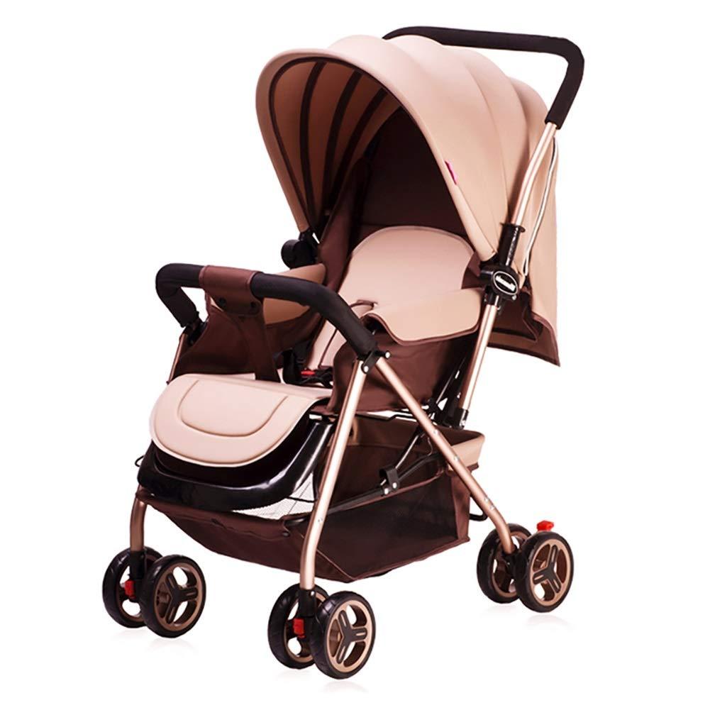 Mariny 赤ちゃんのベビーカー軽量のポータブル高地は、座って、折り畳み式のシンプルなハンドルを可逆的なサスペンション新生児のバギーのトロリー (色 : Khaki)   B07R7N26JG