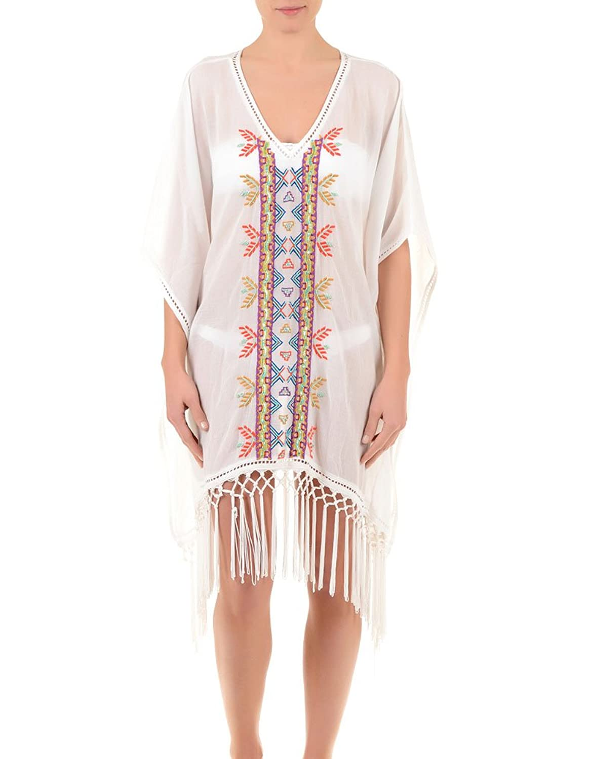 Iconique IC7-024 Women's White Aztec Embroidered Beach Dress Poncho Kaftan
