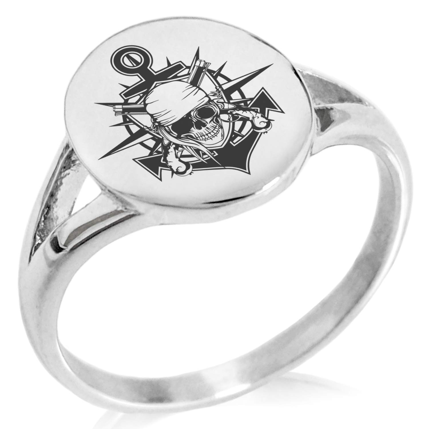 Tioneer Stainless Steel Pirate Bandit Skull Anchor Minimalist Oval Top Polished Statement Ring
