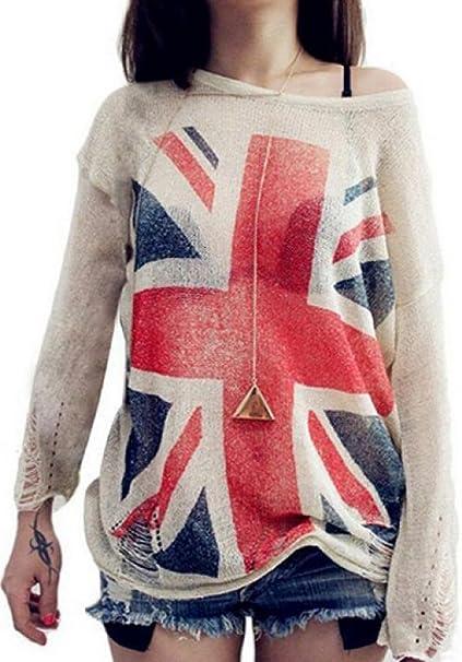 Lingswallow Women Loose British Flag Print Frayed Jumper Knit