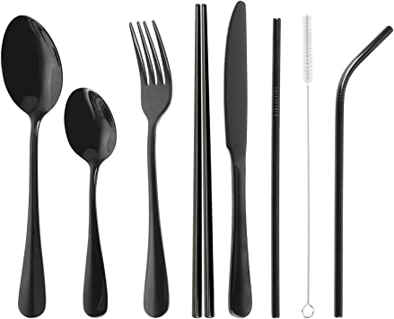 Portable 8 Pieces Flatware Set,Stainless Steel resuable cutlery set,Travel Camping Cutlery Set with Straws for Camping Office or School Lunch Black