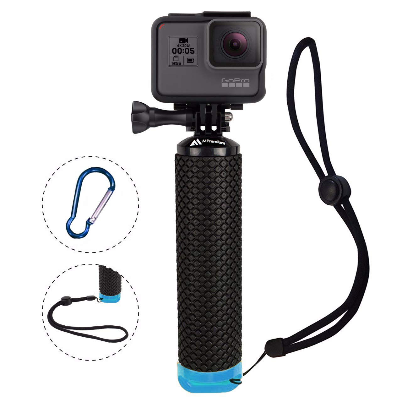 Waterproof Floating Hand Grip Compatible with GoPro Camera Hero 5 Session Black Silver Hero 7 6 5 4 3 3+ 2 1 Handler & Handle Mount Accessories Kit for Water Sport and Action Cameras (Blue) by MiPremium