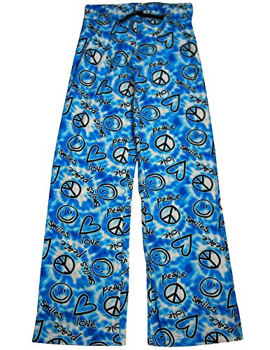 Fancy Girlz Junior Womens Peace Love and Smiles Lounge Pant, Blue 32649-Small