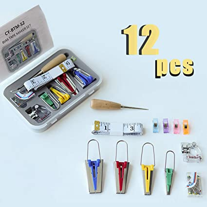 Bias Tape Maker Kit Set for DIY Sewing Quilting Awl /& Jelly Roll Sasher Tool Set