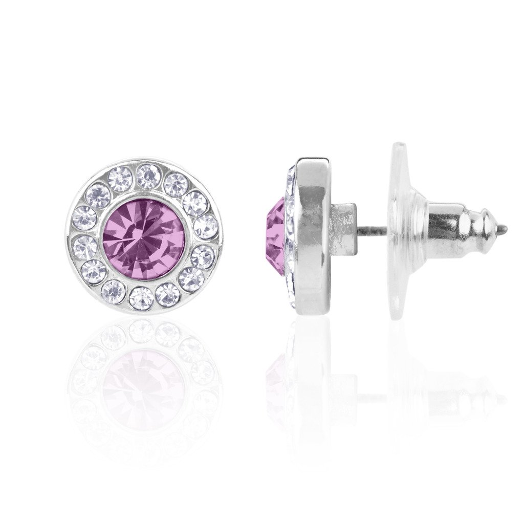 Lux Accessories Birthstone Pendant Disc Pave Charm Stud Earrings Birthday Stone E207333-10-E544