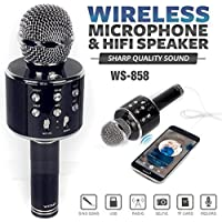 Un-Tech WS-858 Rechargeable Wireless Karaoke Bluetooth Microphone With Inbuilt Speaker with Audio recording For All IOS/Android Smartphone (Color May Vary)