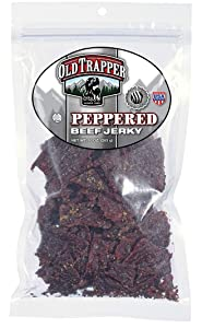 Old Trapper Peppered Beef Jerky   Traditional Style Real Wood Smoked Keto Snacks   Healthy Snacks Made from 100% Top Round Steaks   10 Ounce