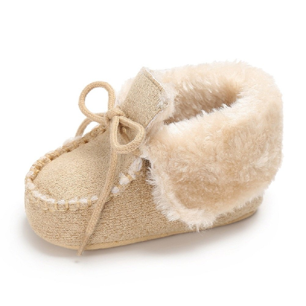 Meeshine Newborn Baby Boys Girls Bow Fur Soft Sole Crib Shoes Slip-On Moccasins Slippers Infant Toddler Pre-Walker