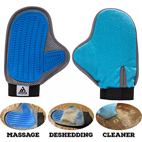 Pet Grooming glove brush Anoma - 3in1 Deshedding tool, Pet Massage, Pet hair remover. For long and short hair bunny, horse, cat and dog grooming tool Soft pet Groomer mitt brush. Your Pet Will Love It