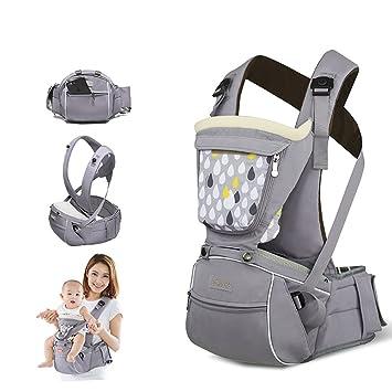 Sunveno Mochila Portabebé ajustable Portabebes Ergonómicode diseño de la cadera Cintura (Gris): Amazon.es: Bebé