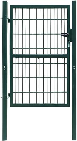 Tidyard Puerta para Jardín 2D (Sencilla) Puerta de Malla de Jardín Puerta para Valla Verja para Jardín Patio Terraza Acero Recubierto en Polvo Verde 106x170cm: Amazon.es: Hogar