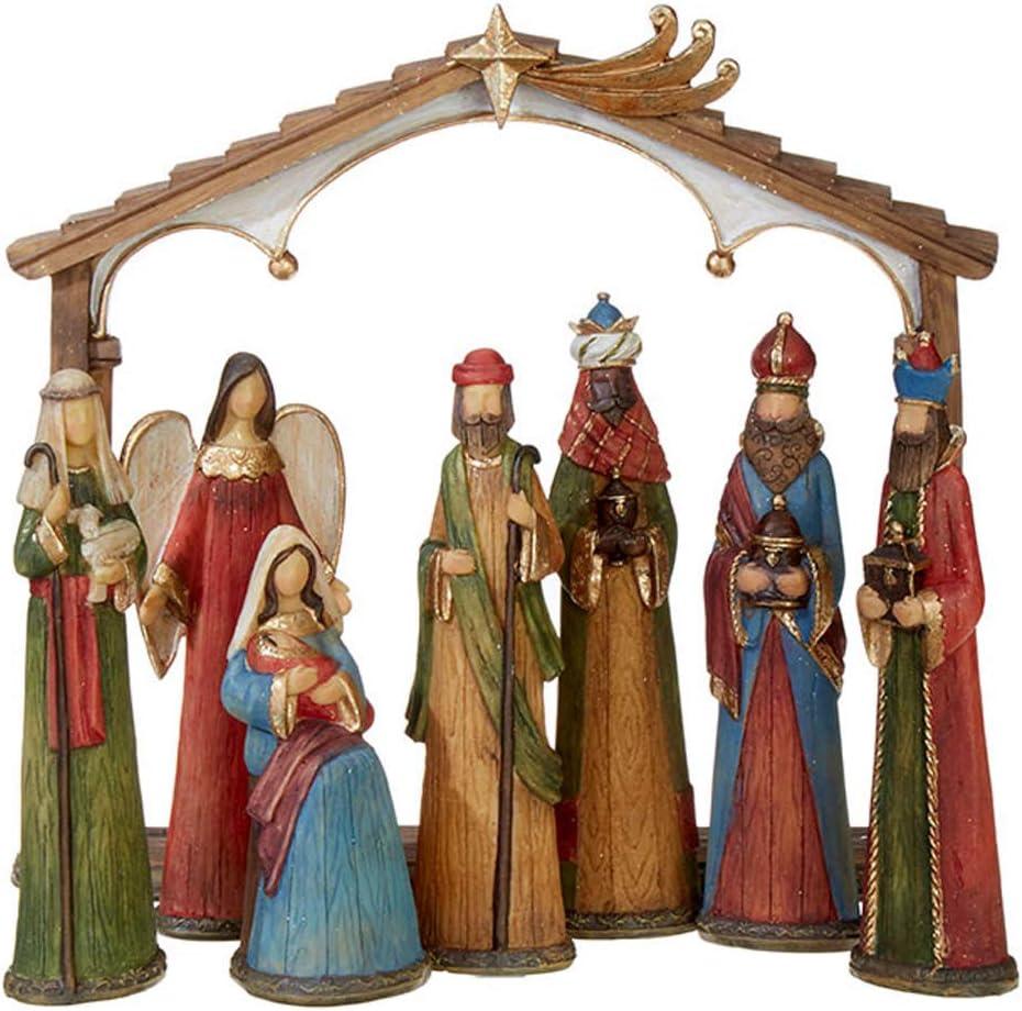 Elegant Colorful 11 x 9 Resin Stone Christmas Nativity Figurine Set of 8