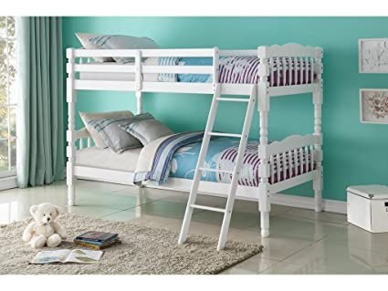 Amazon Com Major Q White Finish Wood Frame Twin Over Twin Bunk Bed