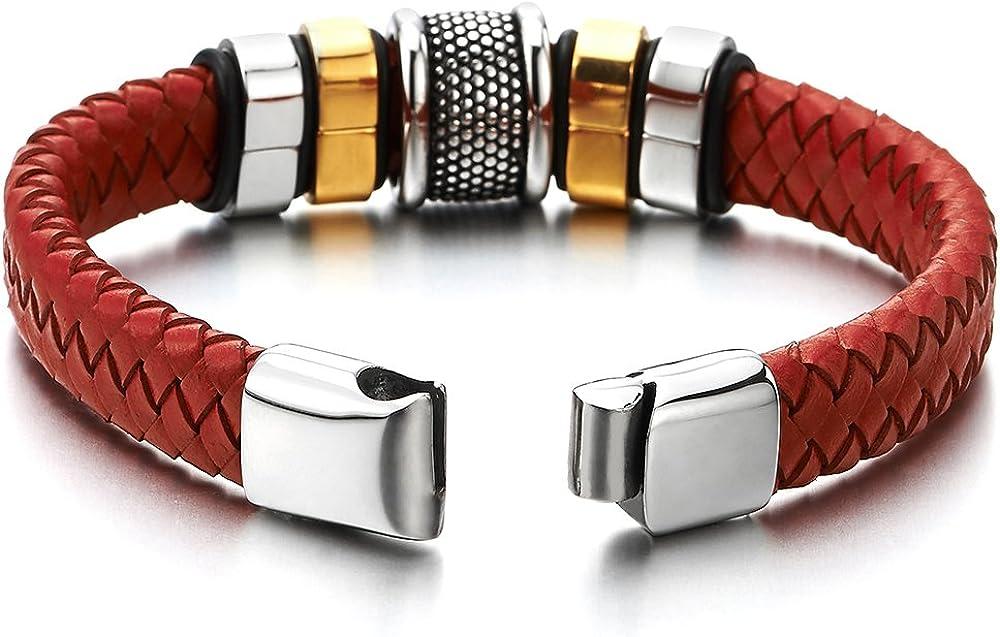 Fermoir Magn/étique Charmes Acier Inoxydable V/éritable Cuir COOLSTEELANDBEYOND Homme Bracelet en Rouge Cuir Entrelac/é
