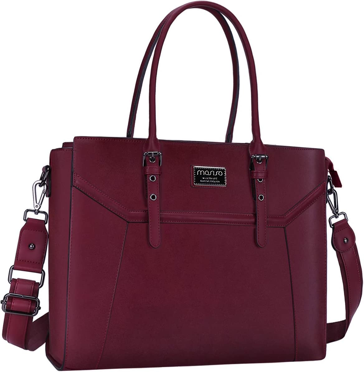 MOSISO 15.6 inch Women Laptop Tote Bag with Shockproof Compartment, Wine Red